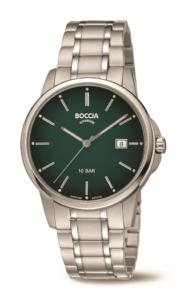 Boccia Herrenuhr Classic aus Reintitan mit Datumsanzeige, grünem Zifferblatt und Saphirglas
