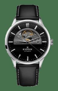 Edox LES VAUBERTS Open Heart Automatikuhr mit schwarzem Ziffernblatt, Edelstahlgehäuse und schwarzem Lederarmband