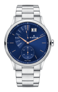 Edox LES VAUBERTS Date Retrograde aus Edelstahl, mit Saphirglas, blauem Ziffernblatt, Großdatum, Retrograder Anzeige und kleiner Sekunde